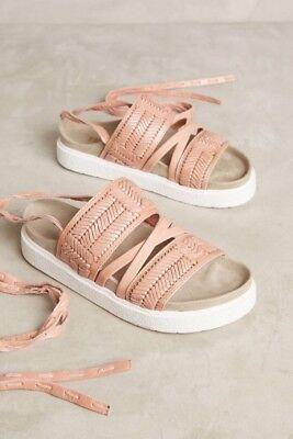 NEW $228 Anthropologie Inuikii Embossed Sport Sandals Size 38 Pink Slides