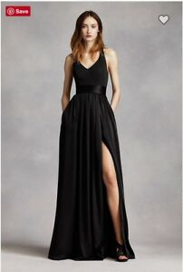 White by Vera Wang V Neck Halter Gown with Sash dress