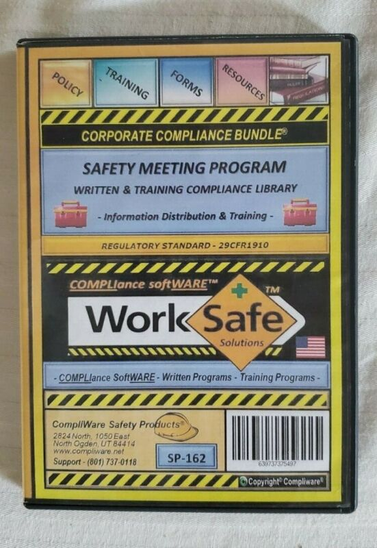 WORKPLACE SAFETY MEETING TOPICS on Windows compatible CD ROM 2018 Reg.29CFR1910