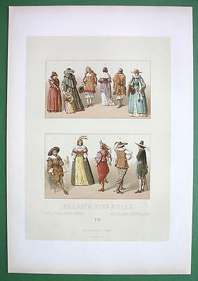 HOLLAND 17th C Costume Zeeland Friesians - COLOR Litho Print by Racinet