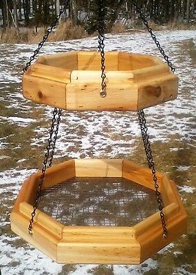 Double hanging octagon platform cedar wood bird / squirrel feeder,The Birds Nest