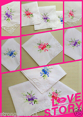 (6/12 PCS Chinese embroidery girls/lady's handkerchief gift wedding handkerchiefs)