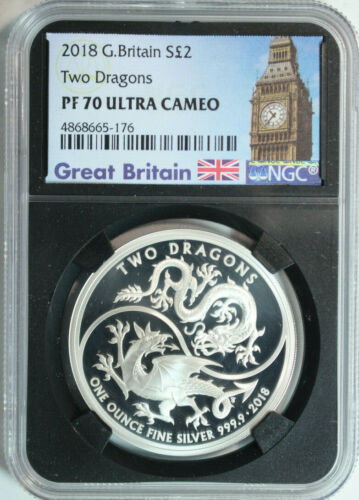 2018 Great Britain .999 Silver 2 Pounds Two Dragons 1oz NGC PROOF 70 ULTRA CAMEO