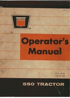 Oliver 550 Tractor Operators Manual