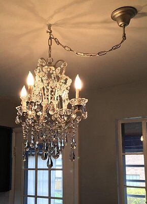 Metal Crystal Chandelier Ceiling Light Vintage Traditional Victorian Style