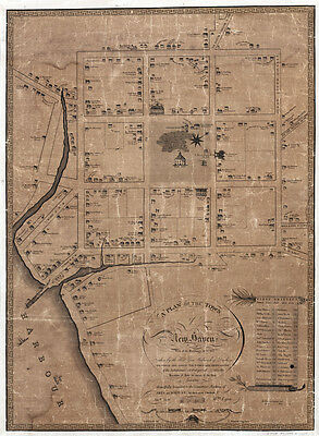 1806 Map of New Haven Connecticut CANVAS PRINT