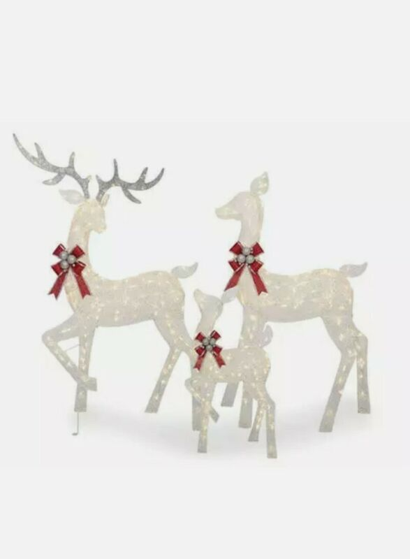"""Large 3-Piece LED Lighted Holiday Deer Family - 60"""" Buck, 52"""" Doe & 28"""" Fawn -"""