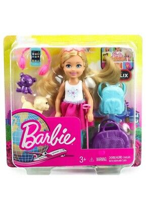 NIB Barbie Travel Chelsea Doll with puppy and teddy bear Toy Set