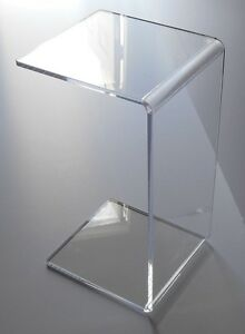 Clear acrylic lucite plexiglass end slide table lucite 23 - Table gigogne plexi ...