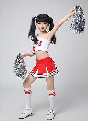 Kids Girls Dress Cheerleader Costume Gym suit Performance Uniform Dancer Dress