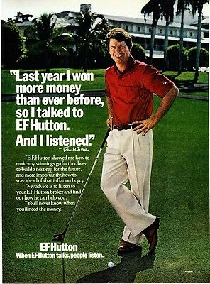 1980 Golfer Tom Watson Photo  People Listen  Ef Hutton Promo Print Ad