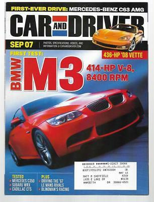Car and Driver Magazine September 2007- BMW M3, Subaru WRX, Cadillac CTS Car And Driver Wrx