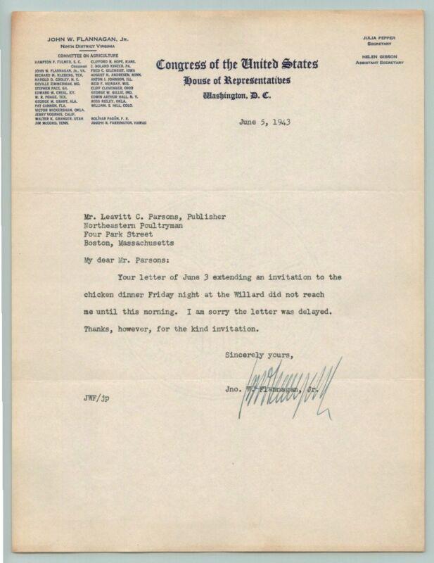 1943 US CONGRESS Representative JOHN FLANNAGAN Signed AUTOGRAPH Letter VIRGINIA