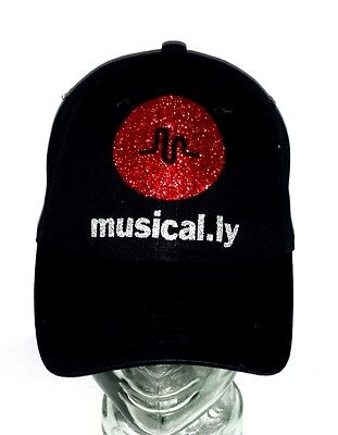 Musical-ly Black Fitted Adjustable  Baseball Cap with Shiny Lettering!