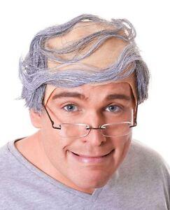 MENS OLD MAN GRANDPA BALD BALDY COMB OVER GREY HAIR FANCY DRESS COSTUME WIG