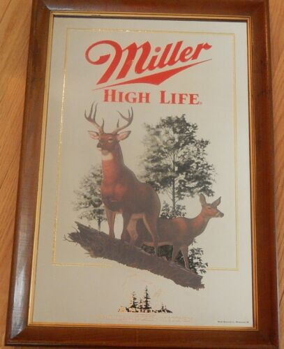 Miller Mirror Beer Sign - WHITE TAILED DEER (Wisconsin)