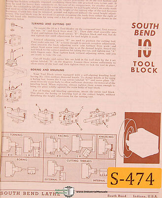 South Bend 10 10-in-one Lathe 156 Page Parts And Accessories Manual 1979