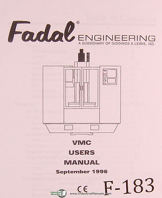 Fadal Vmc Users Programming506 Page Vertical Machining Center Manual 1996