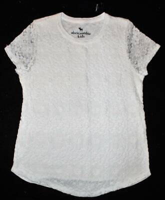 NWT Abercrombie Kids Girl's White Floral Lace Overlay SOFT Shirt Top 13 14 Yrs