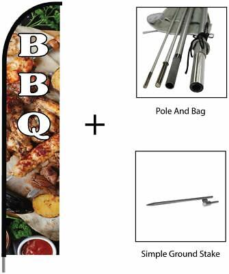 Barbeque Bbq Feather Flag Swooper Banner Pole Kit Restaurant Store Sign 15ft