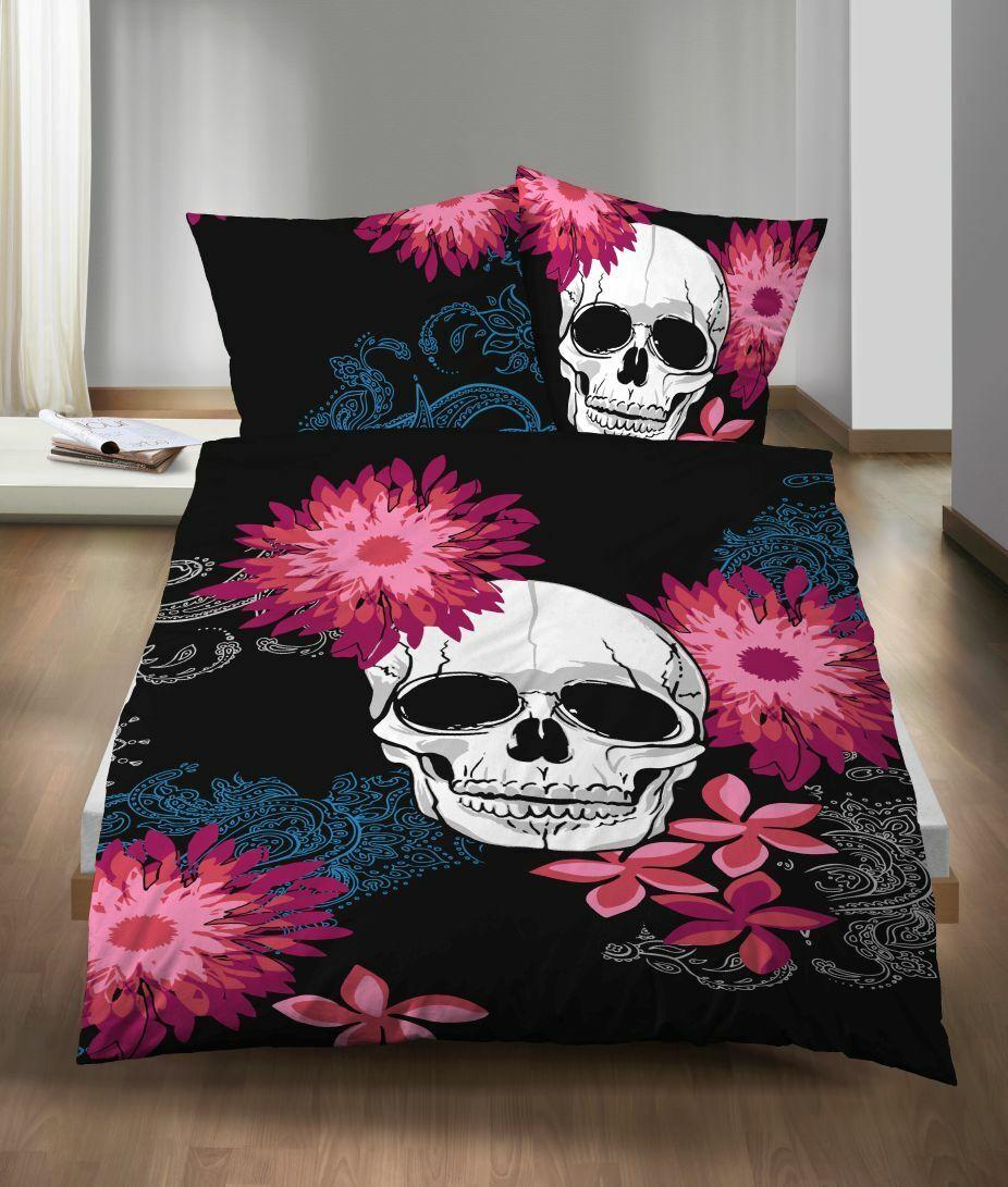 Castell Mikrofaser Bettwäsche 2 tlg 135x200 Skull Totenkopf Blumen schwarz bunt