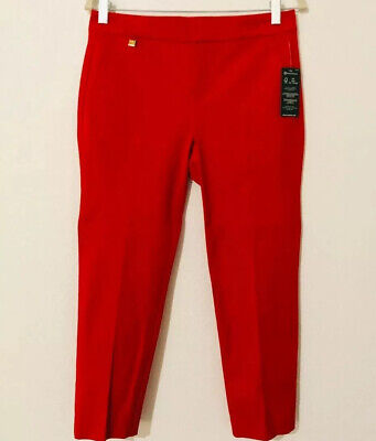 Ralph Lauren Petite Size 4P Straight Ankle Pants, Red Color Spring Outfit NWT