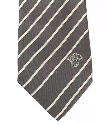 "Versace Men's 100% Silk Gray/White Diagonal Striped Medusa Current Tie 3.25"" euc"