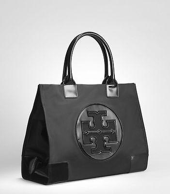 New Authentic Tory Burch Ella Nylon Large 13X17x5 5 Logo Tote Bag Black