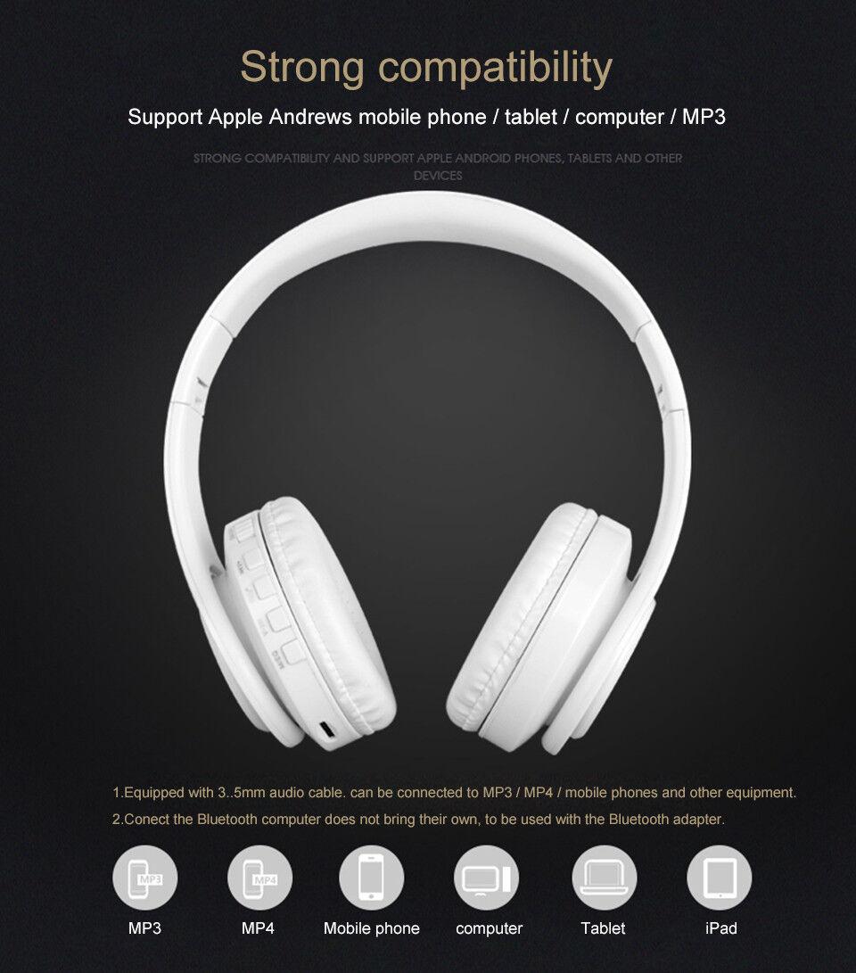 Wireless Bluetooth Headphones Foldable Stereo Earphones Super Bass Headset Mic