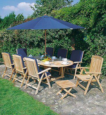 Lorenzo Teak Garden Furniture Set, 2.4m table & Chairs, Cushions, Parasol, Base