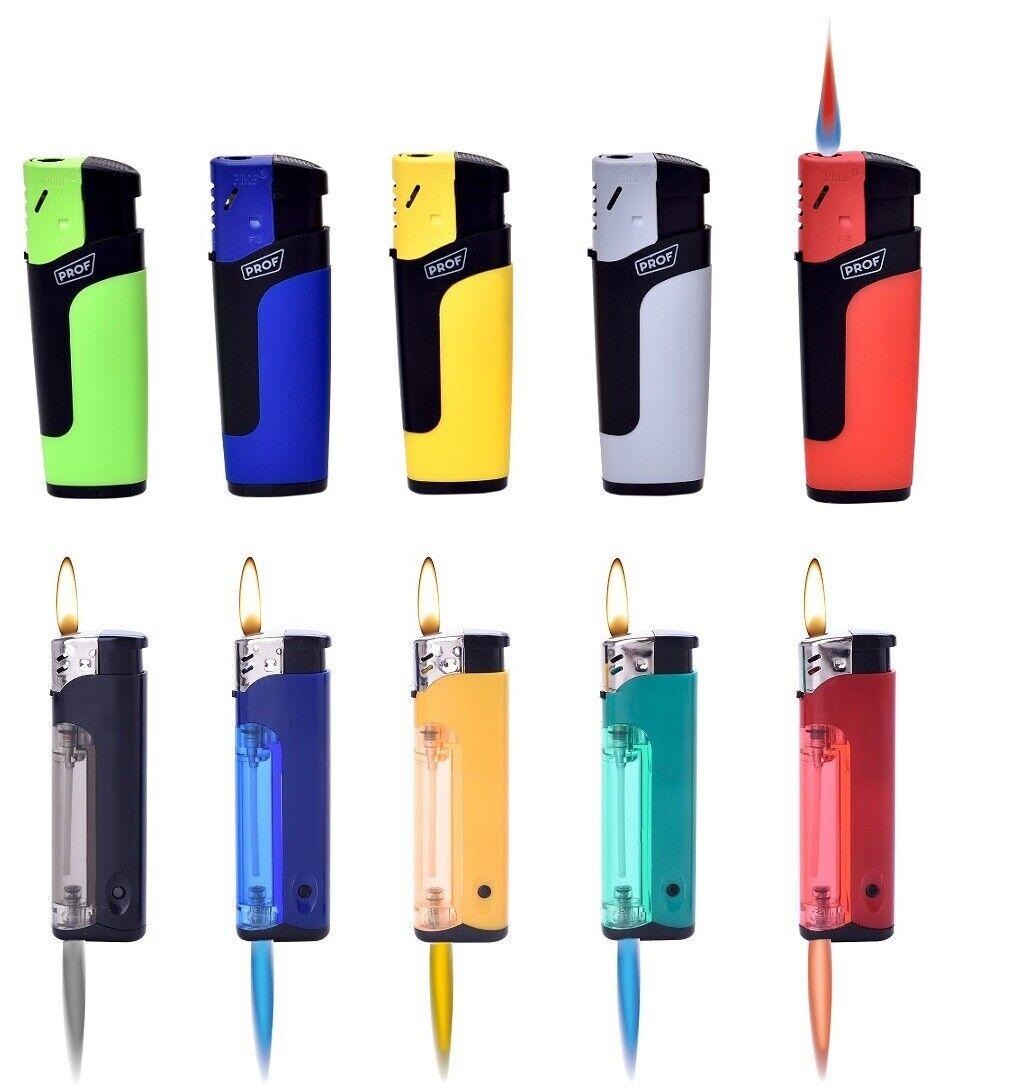 10 - 50 Sturm Feuerzeug in Farbe Turbo Flamme Wind Gas Brenner bunt nachfüllbar  MIX aus beiden Varianten