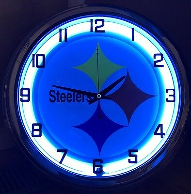 Pittsburgh Steelers Nfl Neon Sign - Pittsburgh Steelers NFL football blue Neon Wall Clock Car Truck Automotive Sign