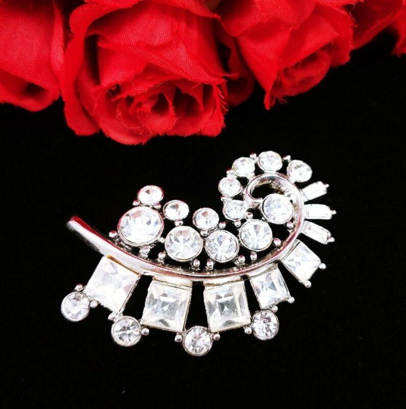 (W) vintage Art Deco Style Feather silver Clear Rhinestone Dress Brooch Pin
