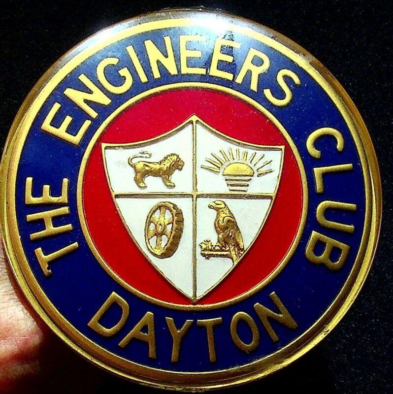 "The Engineers Club Dayton Ohio Vintage Display Button Sign Round 4"""