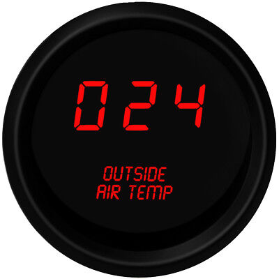 Digital OUTSIDE AIR TEMPERATURE GAUGE W/ Sender RED LEDs BLACK BEZEL & Warranty