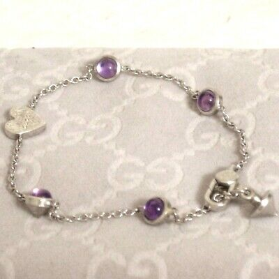 Auth Vintage GUCCI Amethyst Bracelet Silvertone 16cm/6.3inch Made in Italy