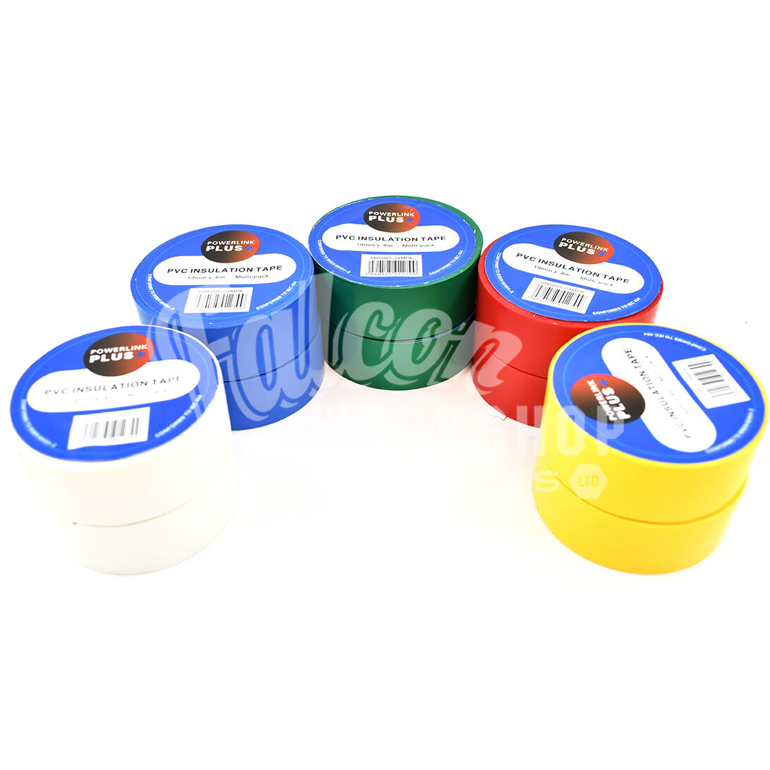 10 ROLLS 19mm x 8m ELECTRICAL PVC INSULATION INSULATING TAPE FLAME RETARDANT
