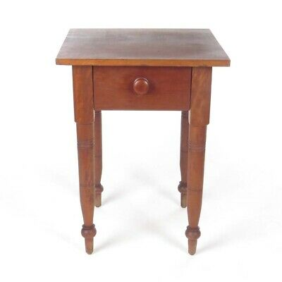 Antique Side Table End One Drawer Work Stand 19th c Wood ()
