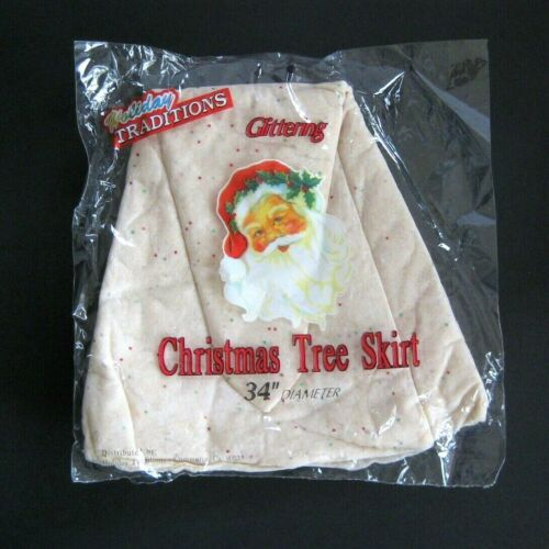 Vintage Christmas Tree Skirt in Package Cotton Snow Glitter Holiday Traditions