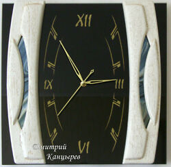 Nice wall clock black glass with white wood modern interior furniture quality 12