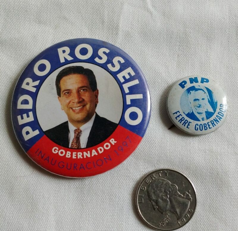 Pin Vintage Partido Nuevo Progresista PNP. P R. Lot 2. Luis A Ferre .P Rossello
