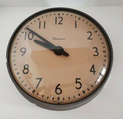 "Vintage 14"" Simplex Model 804-0621B Industrial School 115V Clock Made in USA!"