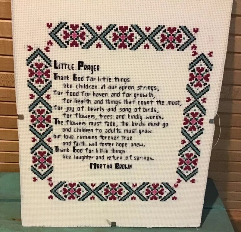 "Cross Stitch Little Prayer, Completed, 10"" X 8"""