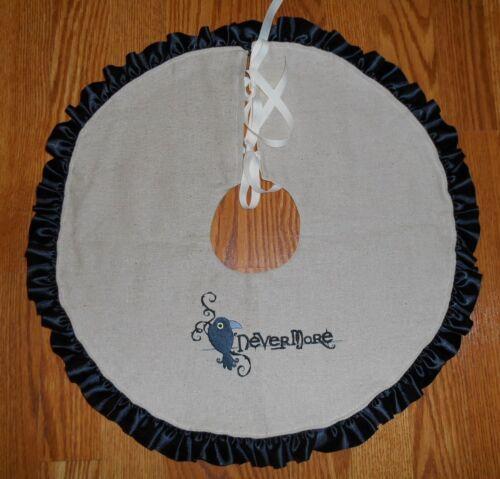 "NEVERMORE RAVEN  Embroidered Tree Skirt, Lamp Skirt 19"" dia Halloween, Prim,Crow"