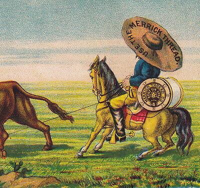 1800's Cowboy Merrick Sewing Thread Wild West Bull Roping Advertising Trade Card