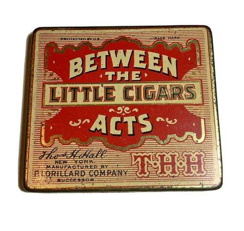 vintage Between the Acts Little cigar tin P. Lorillard Co lining paper 3 1/4 x 3