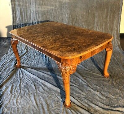 Antique Edwardian Carved Walnut Extension Dining Table w/ leaf and 2 arm - Antique Dining Table
