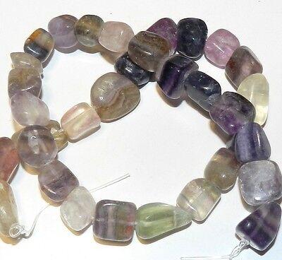 "NG1119f Purple Flourite Natural Gemstone Beads Large Flat Nugget 20-30mm 15"""
