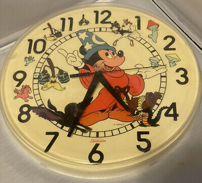 Sunbeam Disney Wall Clock Quartz Sorcerer Mickey Mouse + Fantasia characters