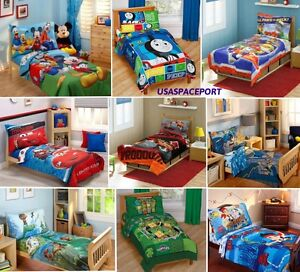 4pc-Boys-TODDLER-BEDDING-SET-Comforter-Sheets-Bed-in-a-Bag-Crib-Decor-Child-Room